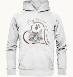 Mein Herz sagt miau Katze Kätzchen Geschenk | Seedshirt Süßes Baby Kätzchen, Katze guckt raus. Schönes Design für Katzenbesitzer, Katzen Freunde und Katzen Liebhaber. Schreib etwas dazu und erzeuge so ein persönliches Geschenk. Mein Herz sagt miau. Hoodies, Sweatshirts, Graphic Sweatshirt, Sayings, Sweaters, Fashion, Gifts For Cats, Baby Kitty, Nice Designs