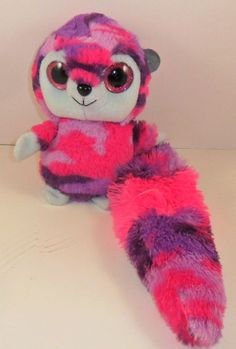 "Ideal Toys Big Eyes Ring Tail Lemur 8"" pink Purple Plush Stuffed Animal #Idealtoysdirect"