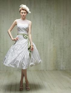 Illusion top short dress with green sash. Dearte.