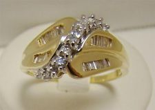 14K YELLOW GOLD GENUINE 1/2 cttw DIAMOND RING 6.2g BAGUETTE COCKTAIL SIZE 9.75