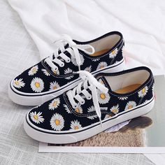 Free Ship Daisy Canvas Shoes is part of Shoes - Fabric MaterialCanvas ColorBlack,White Painted Canvas Shoes, Custom Painted Shoes, Painted Sneakers, Painted Vans, Hand Painted Shoes, Vans Shoes Fashion, Custom Vans Shoes, Cute Vans, Mein Style