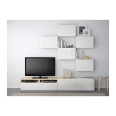 BESTÅ Tv-möbel, kombination - vitlaserad ekmönstrad/Selsviken högglans/vit, lådskena, tryck-och-öppna - IKEA