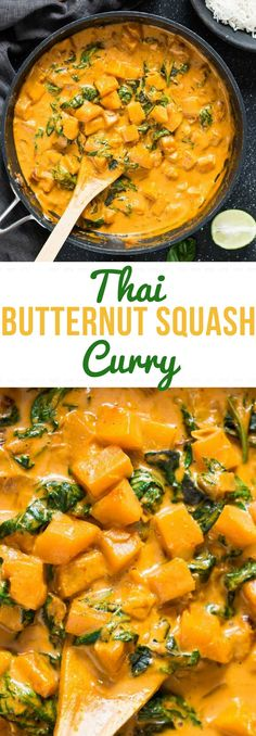 Thai butter squash curry also known as Fug-Tong-Gaeng-Dang is fresh tasting, easy to cook mid-week comforting curry. So satisfying and flavorful, your heart would want more on a cold Fall day. It's creamy, spicy and intensely flavoured dish. World Cuisine Vegetarian Recipes Easy, Veggie Recipes, Indian Food Recipes, Asian Recipes, Cooking Recipes, Healthy Recipes, Vegetarian Times, Healthy Breakfasts, Thai Recipes