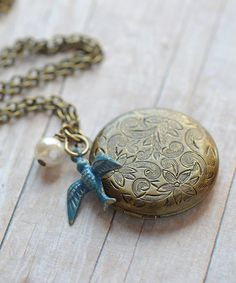 Bridesmaids Gift Antique Locket Bird Locket Rustic by LimonBijoux, $28.00