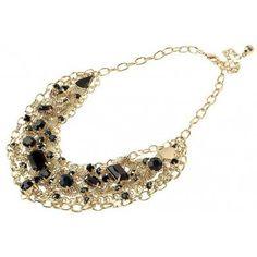 14-karat Gold Plated Jet Crystal Necklace