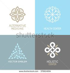 c94fd6f2a Vector set of abstract logos - alternative medicine concepts and health  centers insignias - yoga and spiritual emblems
