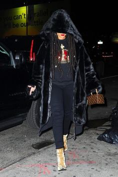 Rihanna wearing Citizens of Humanity Avedon Slick Skinny Jeans in Axel, Louis Vuitton X Frank Gehry Twisted Box Bag, Fenty x Puma Fall 2016 Oversized Bomber Jacket and Haider Ackermann Creased Velvet Ankle Boots