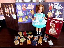 VINTAGE IDEAL SHIRLEY TEMPLE LOT DOLL, BOOK AND ANTIQUE SAALFIELD PAPER DOLLS