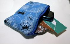 Extra Padded Blue Spider Zipper Pouch by BayleafButtons on Etsy, $7.00