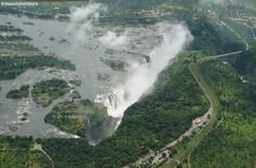 Victoria Falls is a waterfall in southern Africa on the Zambezi River at the border of Zambia and Zimbabwe. Victoria Falls, Zimbabwe, Niagara Falls, Waterfall, Southern, Africa, River, Nature, Naturaleza