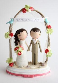 custom beach wedding cake topper - with arch. $190.00, via Etsy.