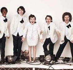 Lucas looks scared and nervous, Finn is just Smiling and Millie, Noah and Gaten are fully into it