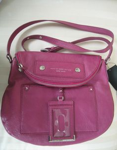 NWT Marc by Marc Jacobs Magenta Preppy Leather Natasha Bag $368 #MarcbyMarcJacobs #MessengerCrossBody