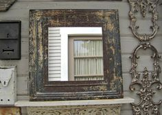 Rustic Tin Mirror. Fantastic architectural by DriveInService, $85.00