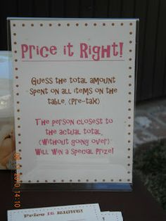 """Price Is Right Baby Shower Template 