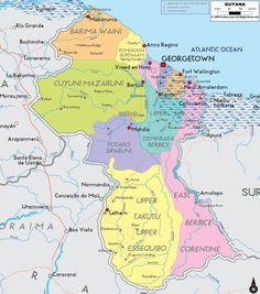 Map of Guyana, South America