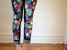 Pink Stripey Socks: DIY Splatter Painted Pants