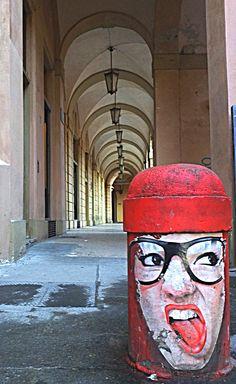 Via Zamboni,street art in Bologna Italy