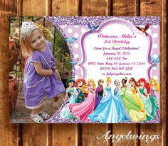 Disney Princess Invitation for Birthday Party - Princee Anna Elsa cards - Rapunzel Cinderella Belle Ariel Invite - Printable Digital File by AngelWings2015 on Etsy