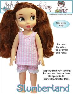 Pixie Faire Doll Tag Clothing Slumberland Doll Clothes Pattern for Disney Animator Dolls- PDF