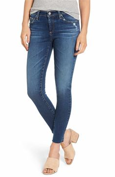Enjoy legging-like comfort with the look of classic denim in these stretchy skinny jeans detailed with distressed edges and raw, ankle-grazing hems. Style Name:Ag The Legging Raw Hem Ankle Skinny Jeans Years Blue Dusk). Style Number: Available in stores. Nordstrom Jeans, Nordstrom Sale, Fall Wardrobe Essentials, Capsule Wardrobe, Nordstrom Anniversary Sale, Weekend Wear, Skinny Ankle Jeans, Slim Jeans, Ag Jeans