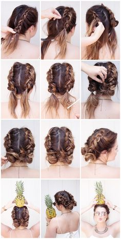 tutorial tuesday, braids, tutorials, beauty blogger, sunkissed and madeup, summer tutorial, pinapples, messy bun, pigtails, french braid