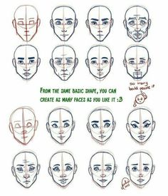 47 New Ideas For Eye Shapes Drawing Tutorial Anime Face Shapes, Drawing Face Shapes, Drawing Heads, Face Proportions Drawing, Drawing Expressions, Anatomy Drawing, Face Anatomy, Head Shapes, Art Reference Poses