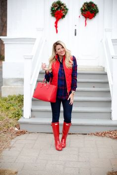 Red quilted vest & red hunter boots with plaid shirt // holiday layering