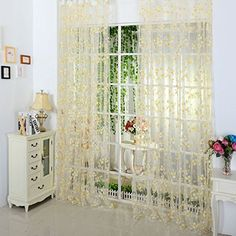 Norbi Decorative Floral Tulle Voile Door Window Rom Curtain Drape Panel Sheer Scarf Valances Yellow * More info could be found at the image url.