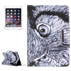 For+iPad+mini+4+Owl+Pattern+Magnetic+Snap+Leather+Case+with+Holder,+Card+Slots+&+Wallet