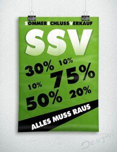 Sommerschlussverkauf - Alles muss raus - Plakat, grün, P-FP-0002B   Plakate   Werbedesigns   Despri