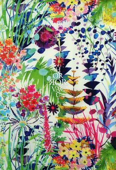 herbae | The herbae print is based on a hand-drawn watercolour artpiece showing vibrantly coloured herbs, flowers and fern from windswept sand dunes of a sub-tropical garden.