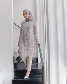 Image may contain: 1 person, standing Hijab Skirt, Hijab Gown, Hijab Dress Party, Hijab Style Dress, Casual Hijab Outfit, Hijab Chic, Kebaya Modern Hijab, Kebaya Hijab, Kebaya Dress