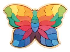 Large Butterfly <3 Creative Puzzle and wonderful Building Blocks together in one Toy ! Even the youngest will love to Play with the wooden pieces, although it will take a while until they succeed in completing the Puzzle. Therefore it is a Toy that will last for a long time and the Kids will have endless hours of free Play ! And even for the parents its a Joy to have such wonderful Building Blocks laying on the floor and appearing as a piece of Artwork ... :)