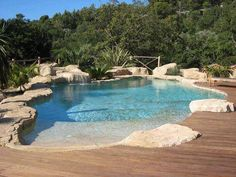Having a pool sounds awesome especially if you are working with the best backyard pool landscaping ideas there is. How you design a proper backyard with a pool matters. Luxury Swimming Pools, Natural Swimming Pools, Luxury Pools, Dream Pools, Swimming Pool Designs, Piscina Spa, Beach Entry Pool, Pool Remodel, Backyard Pool Landscaping