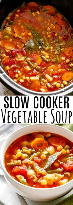 Slow Cooker Vegetable Soup – Healthy and hearty slow cooker soup loaded with f., Slow Cooker Vegetable Soup – Healthy and hearty slow cooker soup loaded with f. Slow Cooker Vegetable Soup – Healthy and hearty slow cooker soup loa. Sopa Crock Pot, Vegetable Soup Crock Pot, Crock Pot Vegetables, Homemade Vegetable Soups, Vegetable Soup Healthy, Homemade Soup, Healthy Vegetables, Vegetable Recipes, Fresh Vegetables