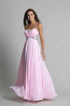 Spaghetti Straps Beaded Ruched Pink Prom Dress - Vuhera.com