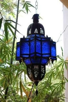 Blue Moroccan hanging lamp