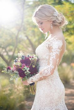 Long-sleeve wedding dress idea - lace wedding dress with long, illusion sleeves. Style from Essense of Australia. See more wedding dress inspo on WeddingWire! dresses lace Essense of Australia Wedding Dresses, Essense of Australia Photos Country Wedding Dresses, Wedding Dress Trends, Princess Wedding Dresses, Dream Wedding Dresses, Bridal Dresses, Wedding Gowns, Cheap Lace Wedding Dresses, Mermaid Wedding Dress With Sleeves, Wedding Dress With Veil