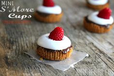 Mini S'more Cups topped with fresh raspberries, the perfect bite size dessert. Super easy to make! #minidesserts #smorerecipes | by @JoyHealthyEats