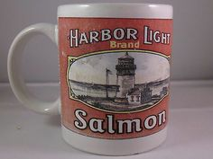 HarborLight Brand Salmon Coffee Cup Mug 1994 Paradise Island Light House Chum