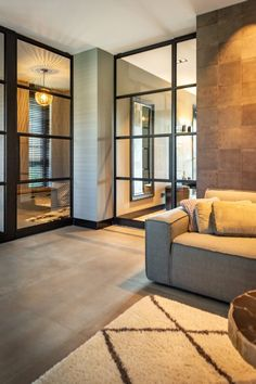Living Room With Steel Interior Doors Condo Living, Home And Living, Interior Architecture, Interior Design, Interior Doors, Home Design Plans, Living Room Grey, Dream Rooms, Room Inspiration
