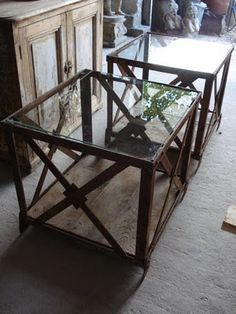 Love this, metal crates morph into side tables