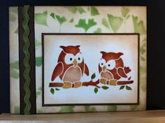 Give a hoot hoot!  This is one of my parents company stencil designs made into greeting cards.