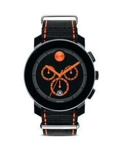 Movado BOLD Black Chronograph Dial with Orange Accents, 43.5mm | Bloomingdale's