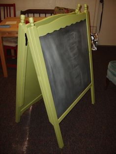 from sides of the old crib make an easel    1 crib  2 great ideas -  see the bench too