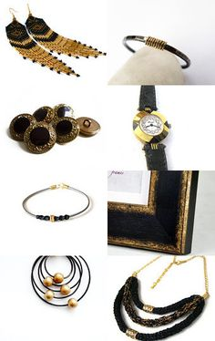 --Pinned with TreasuryPin.com Amai, Black Gold, Bracelet Watch, Gift Ideas, Bracelets, Gifts, Etsy, Accessories, Presents