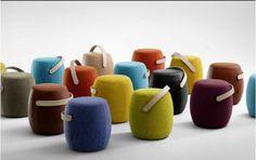 Bancos Carry On revestidos com feltro, do designer Mattias Stenberg, para a Offecct