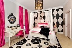 love the black and white harlequin wall little girls,  black and white girls room,  black and hot pink bedroom, new room, pink rooms, black white, big girl rooms, big girls, kid room
