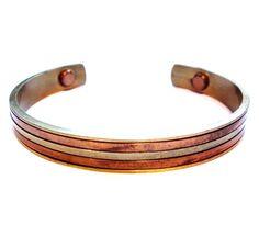 Vintage Copper Brass Cuff Bracelet / Magnetic